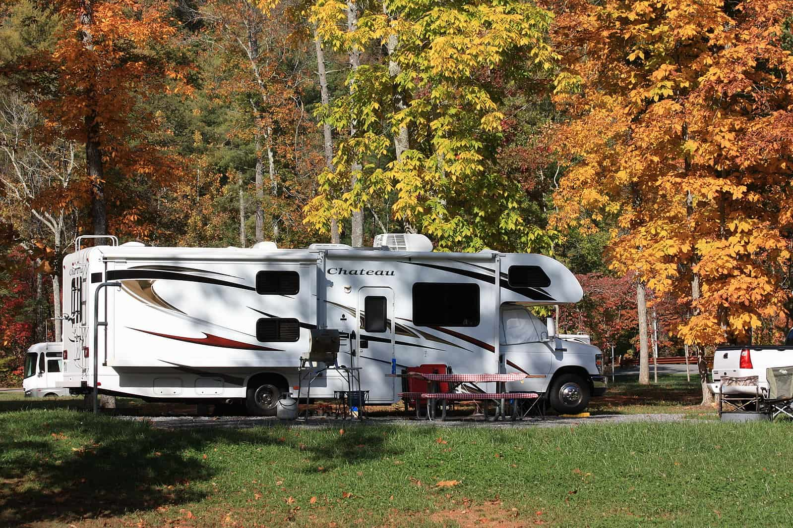 RV in fall foliage