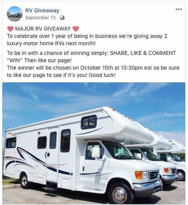 rv giveaway facebook scam